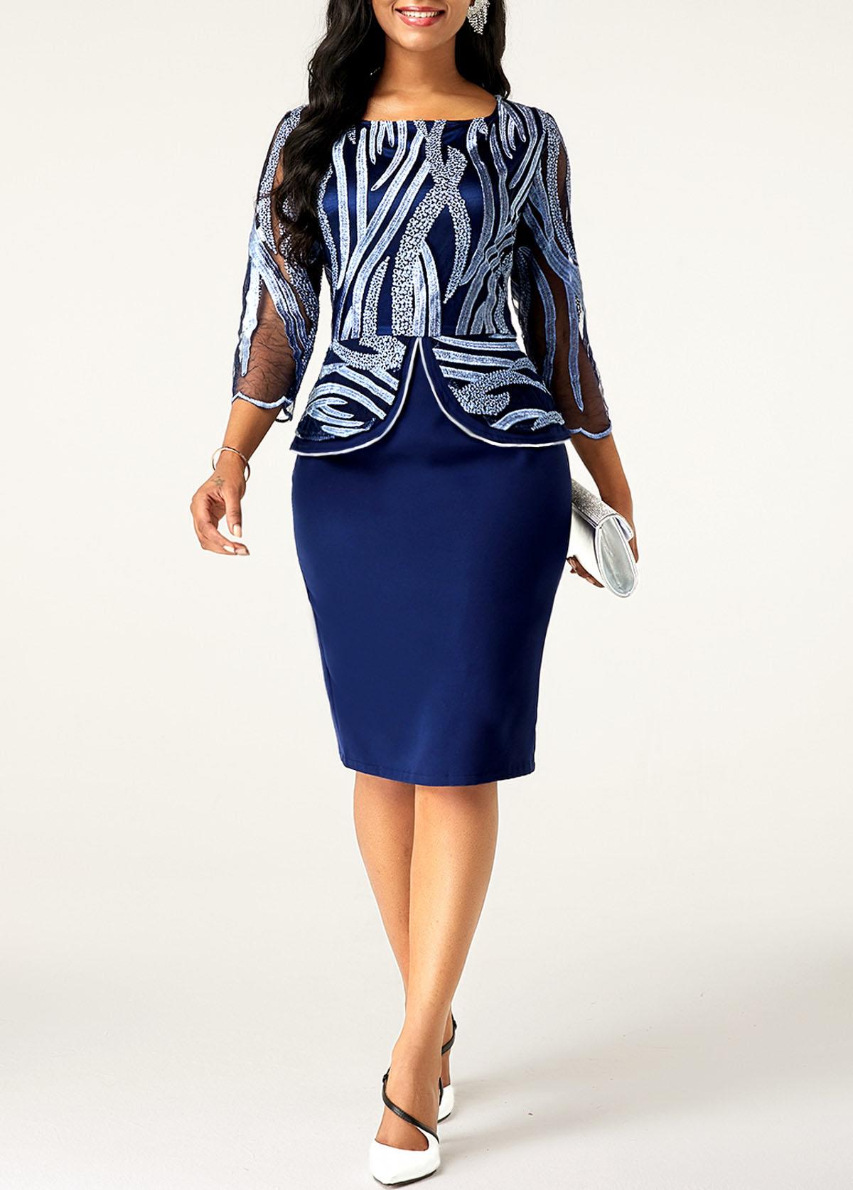 ROTITA Boat Neck Lace Stitching 3/4 Sleeve Dress
