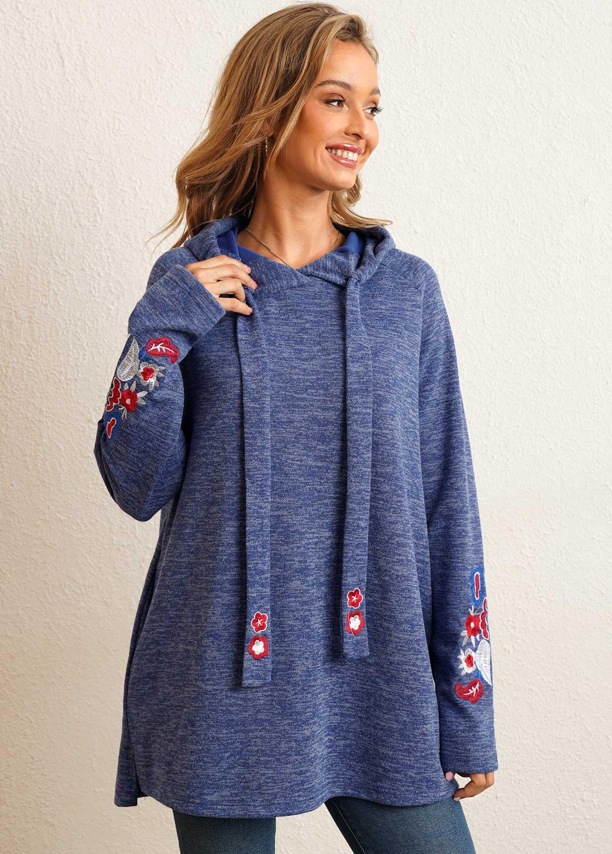 Embroidery Pocket Detail Long Sleeve Hoodie