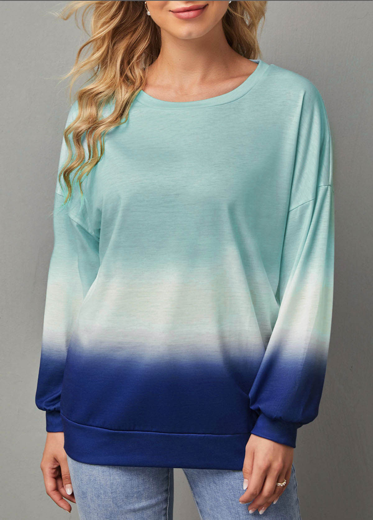 Ombre Print Round Neck Long Sleeve T Shirt