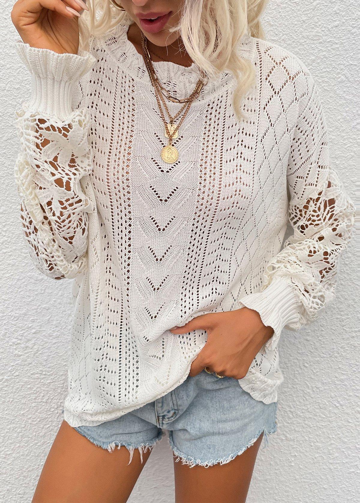 Solid Pierced Detail Long Sleeve Sweater