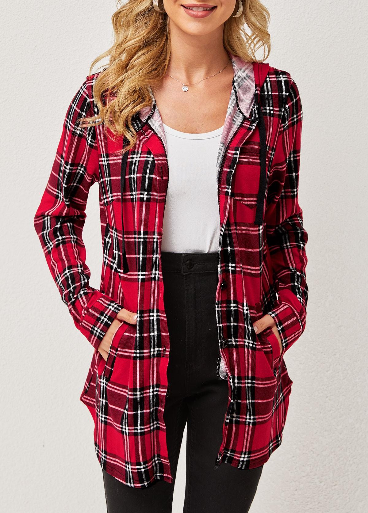 ROTITA Plaid Double Side Pockets Hooded Collar Long Sleeve Blouse