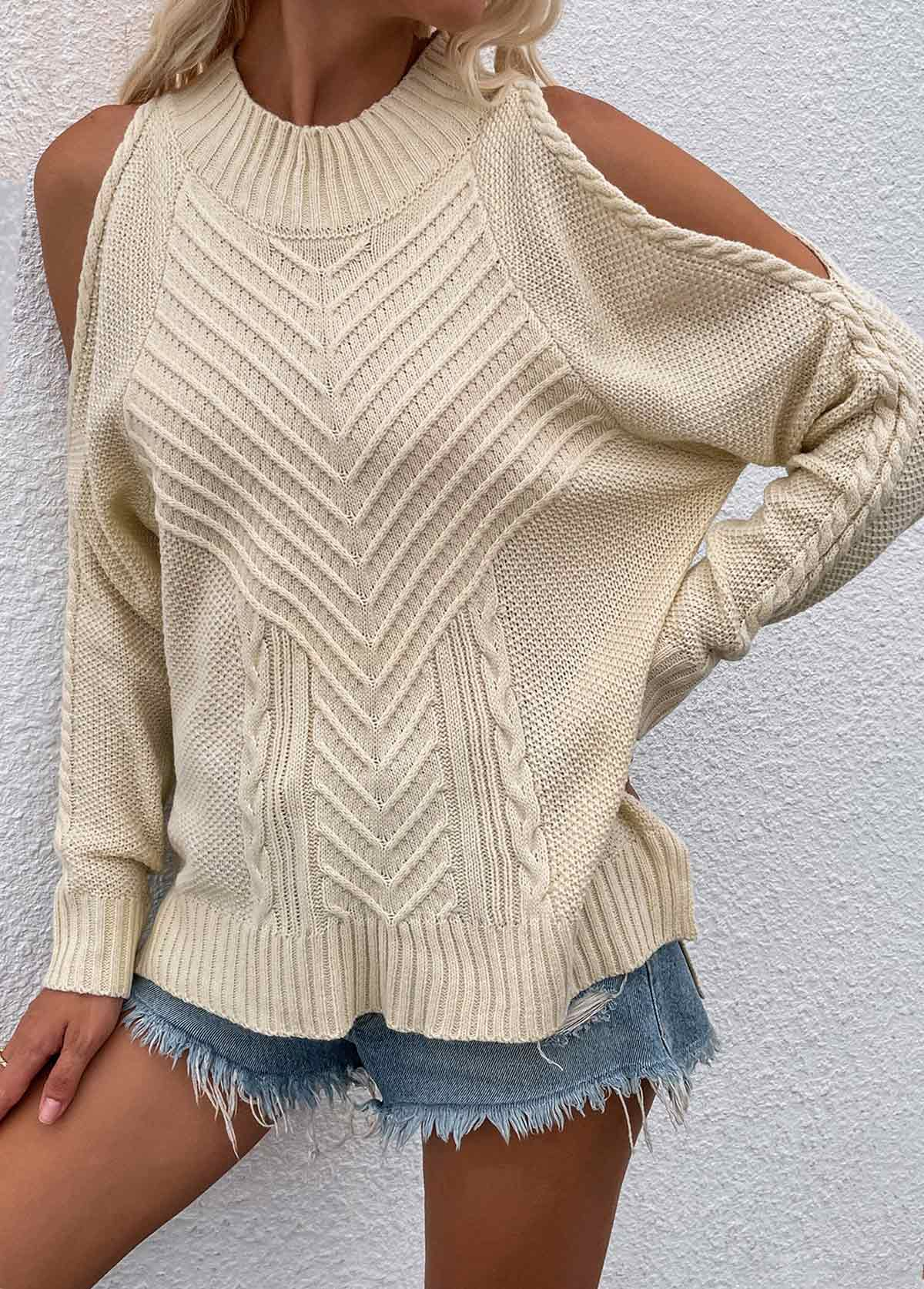 Solid Cold Shoulder Long Sleeve Sweater