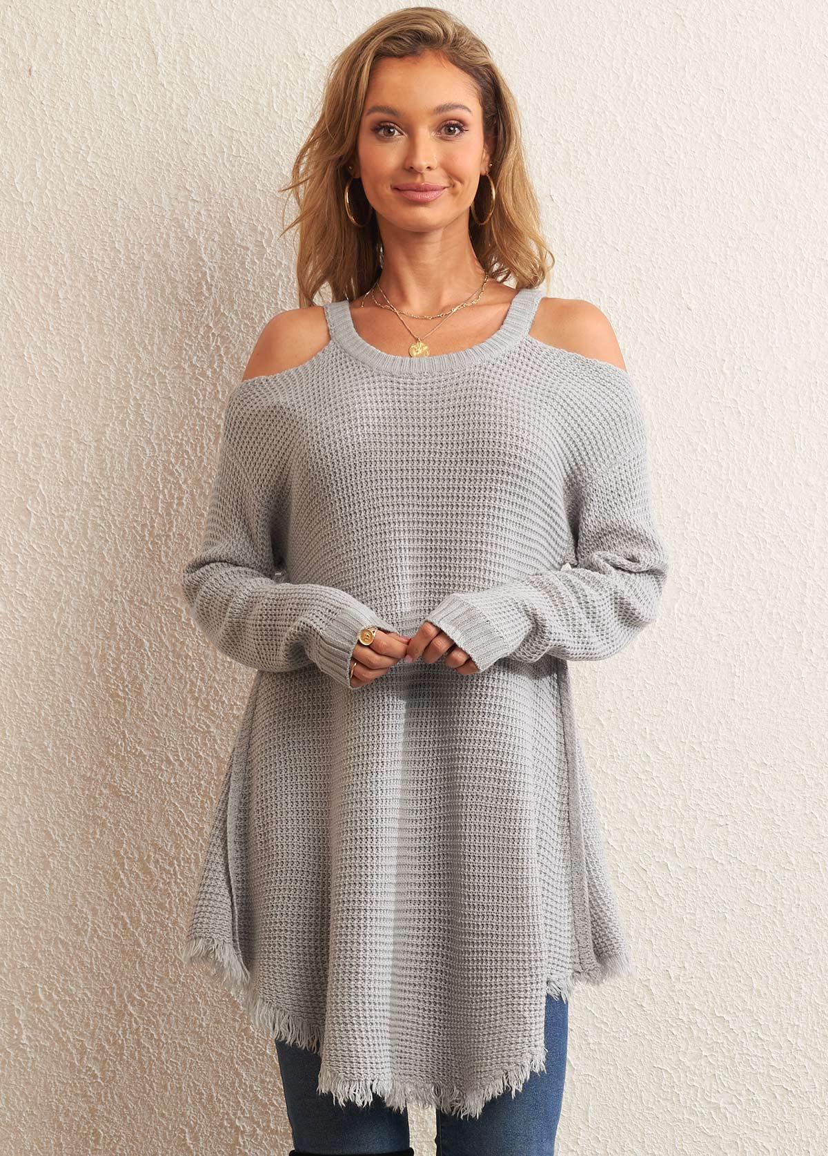 Frayed Hem Cold Shoulder Long Sleeve Sweater