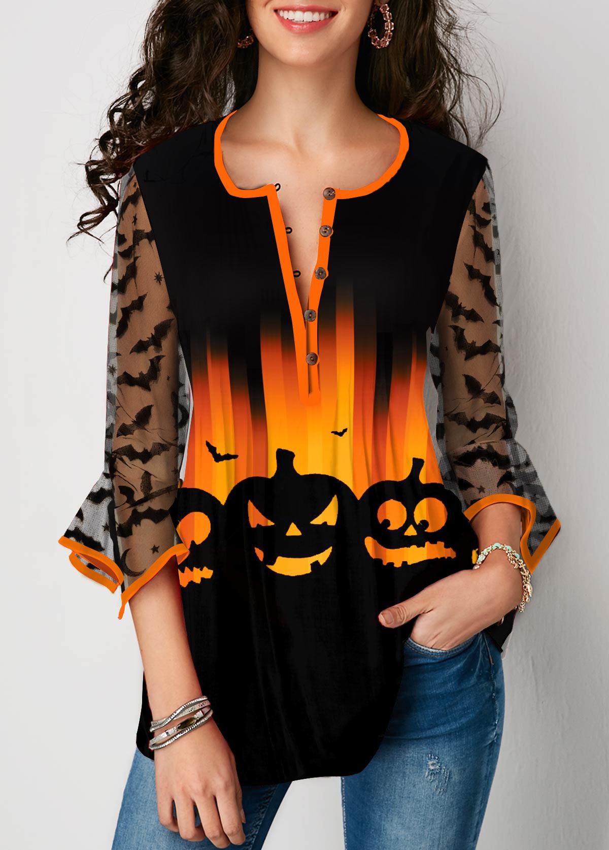 ROTITA Hanky Cuff Lace Stitching Halloween Print Blouse
