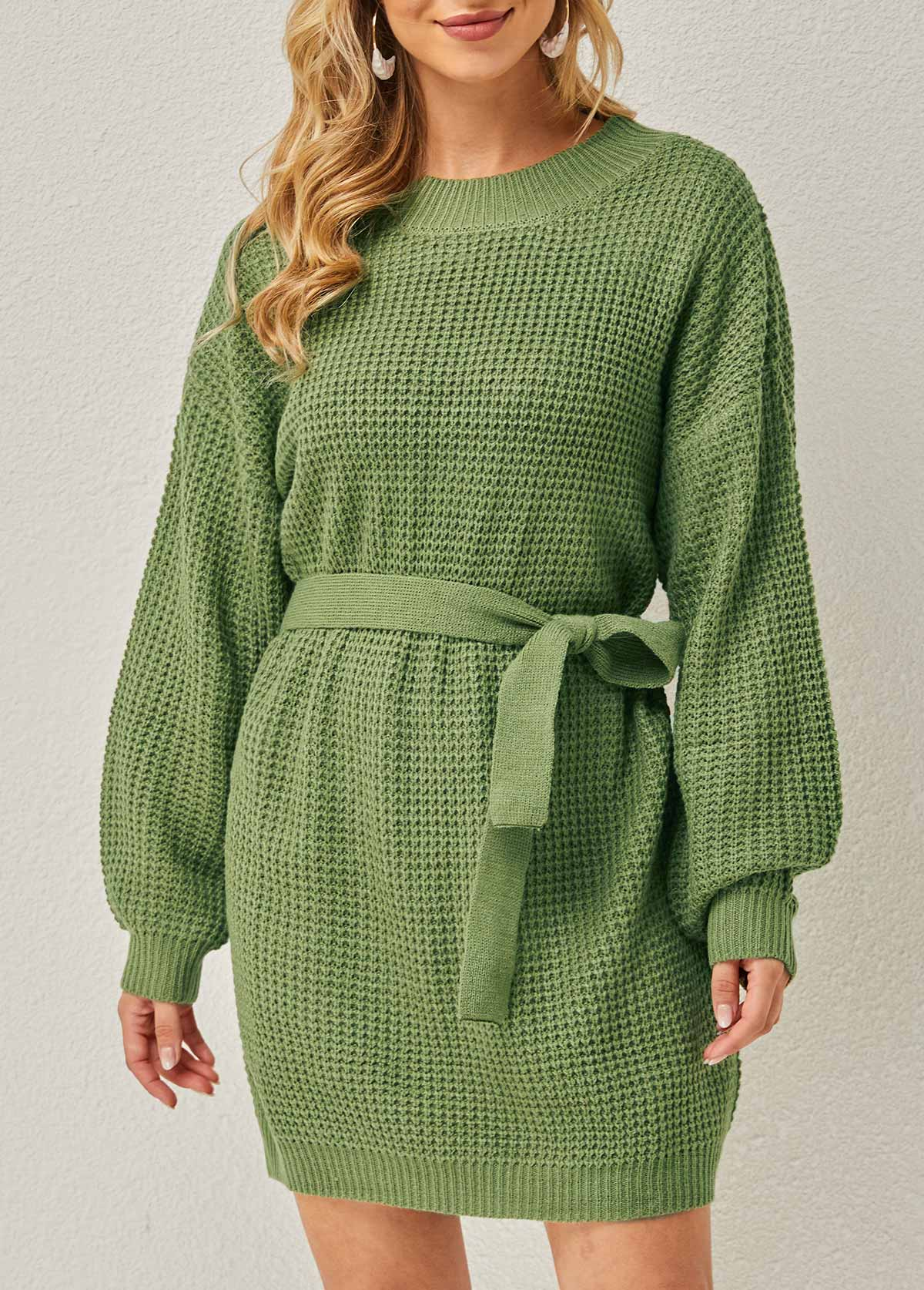 Belted Solid Round Neck Long Sleeve Dress