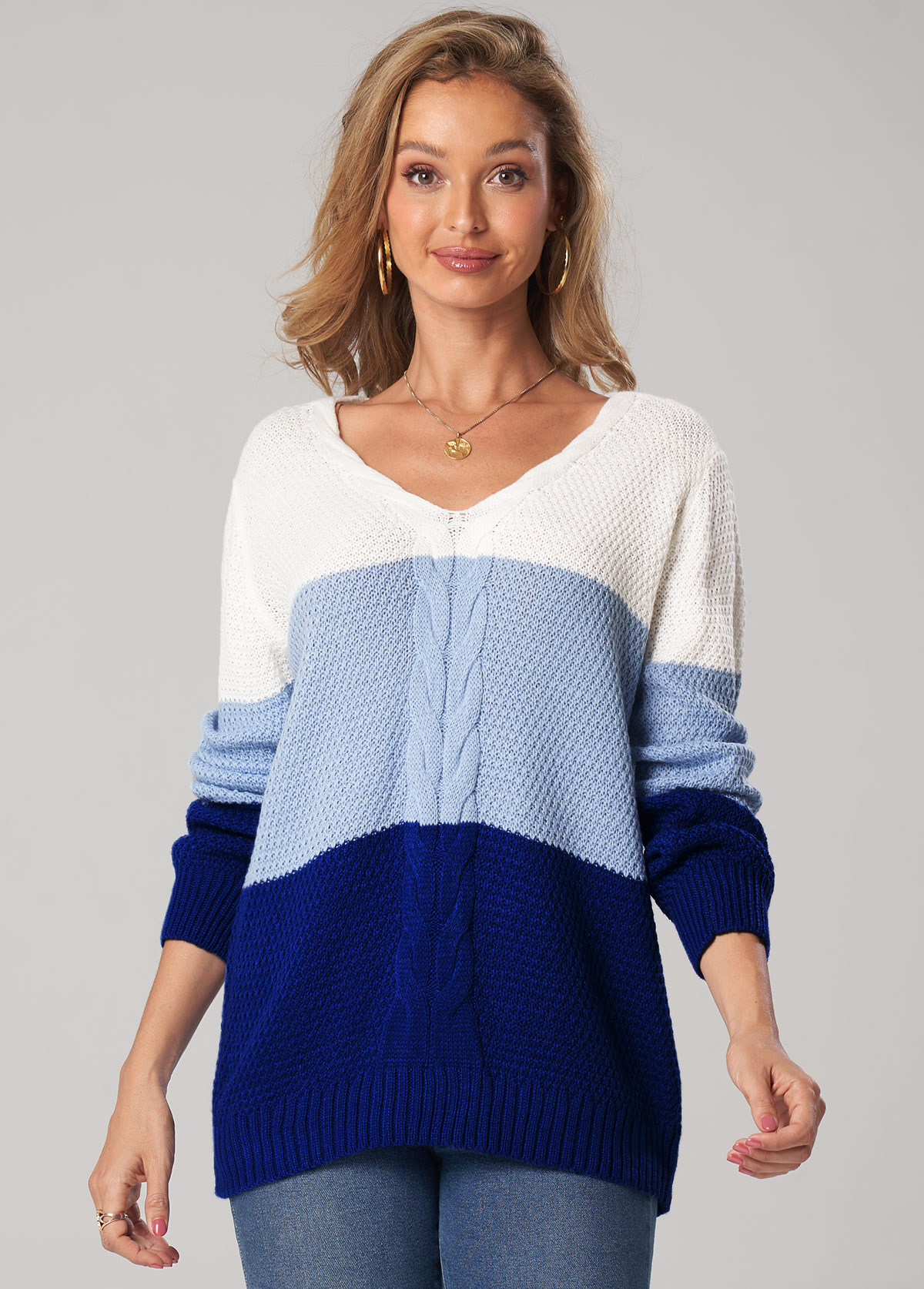 Patchwork Twisted V Neck Long Sleeve Sweater