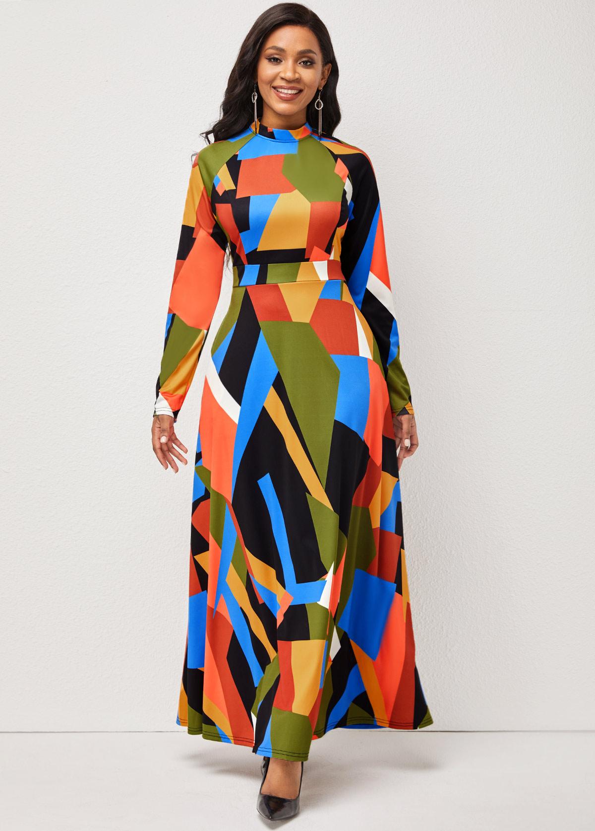 ROTITA Geometric Print Mock Neck Long Sleeve Dress