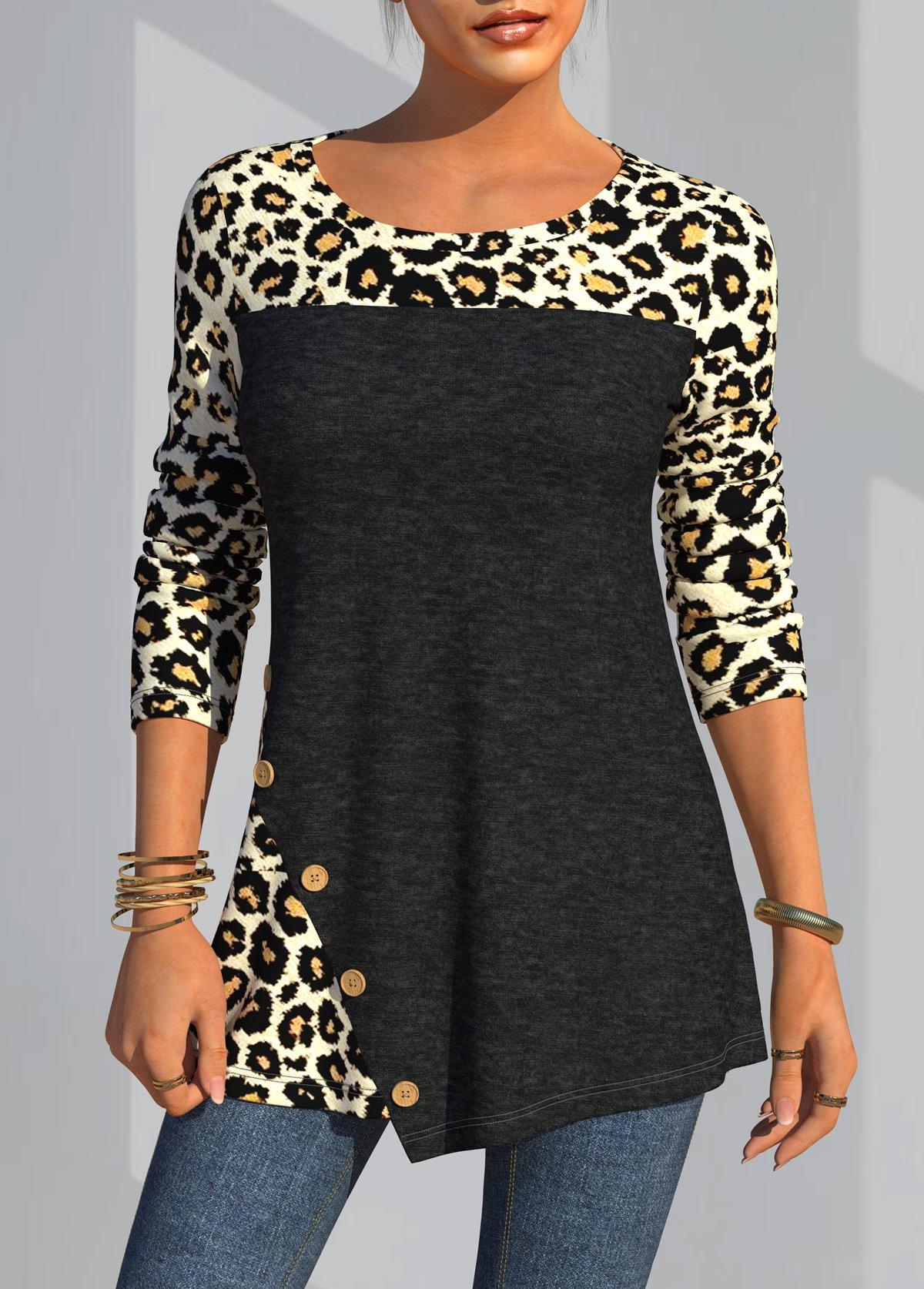 ROTITA Leopard Decorative Button Round Neck Long Sleeve T Shirt