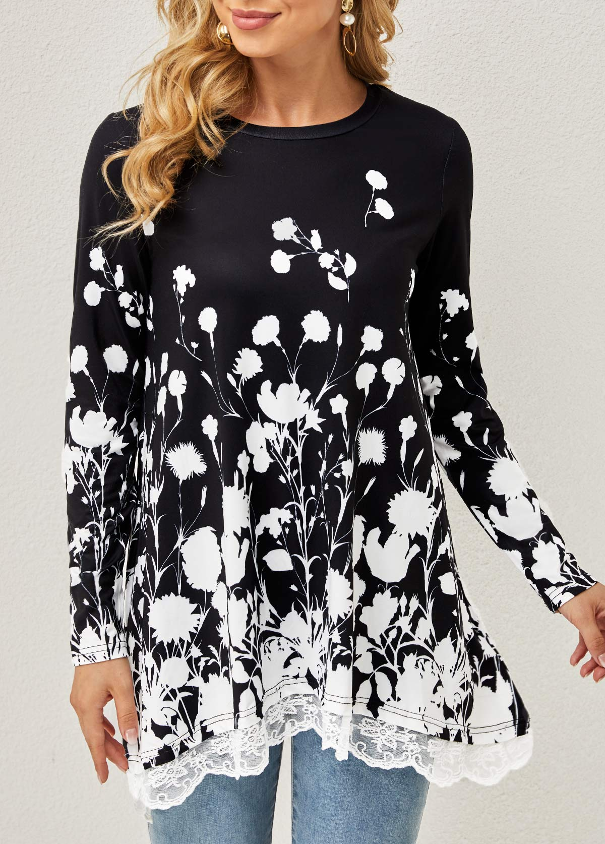 Floral Print Lace Stitching Round Neck T Shirt