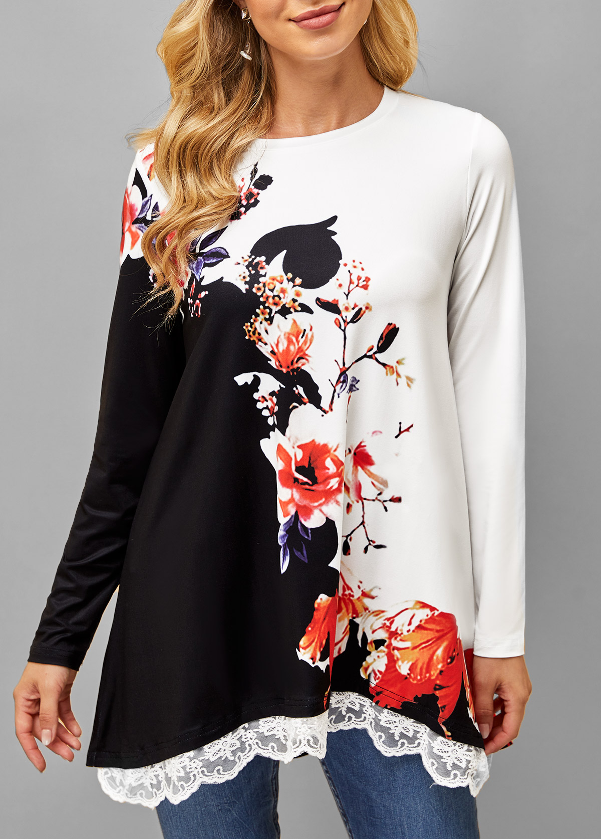 Lace Stitching Floral Print Long Sleeve T Shirt