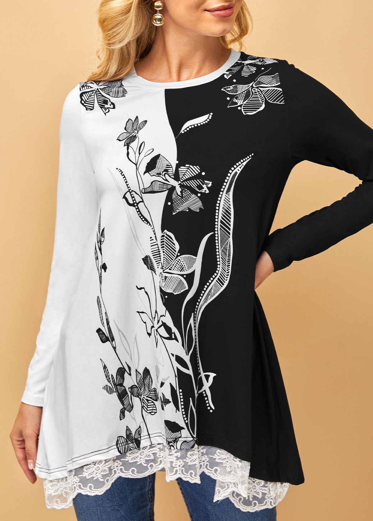 Round Neck Lace Panel Long Sleeve T Shirt