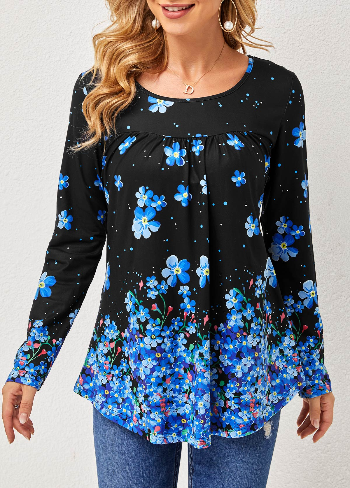 Long Sleeve Floral Print Round Neck T Shirt
