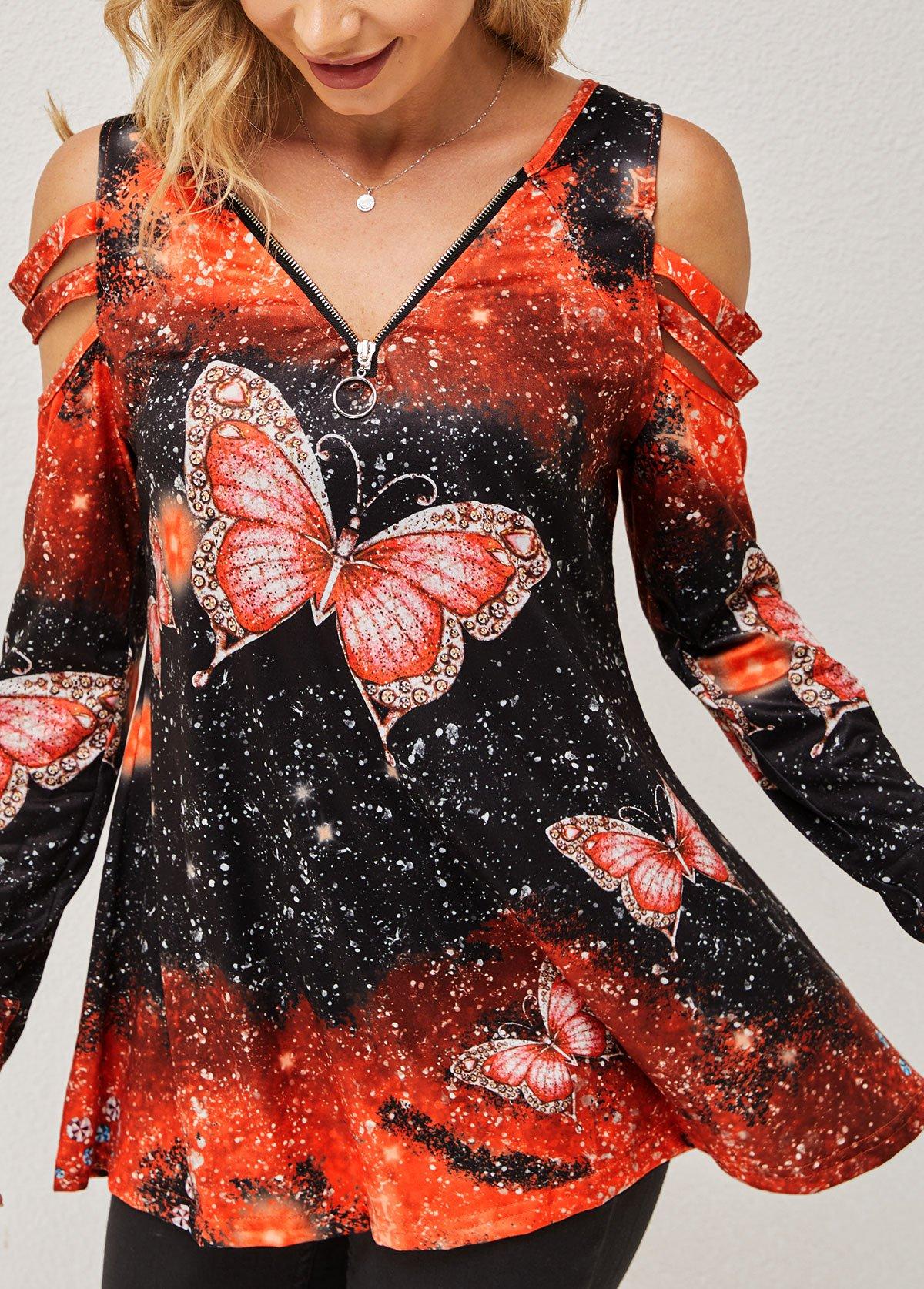 Cold Shoulder Quarter Zip Butterfly Print T Shirt