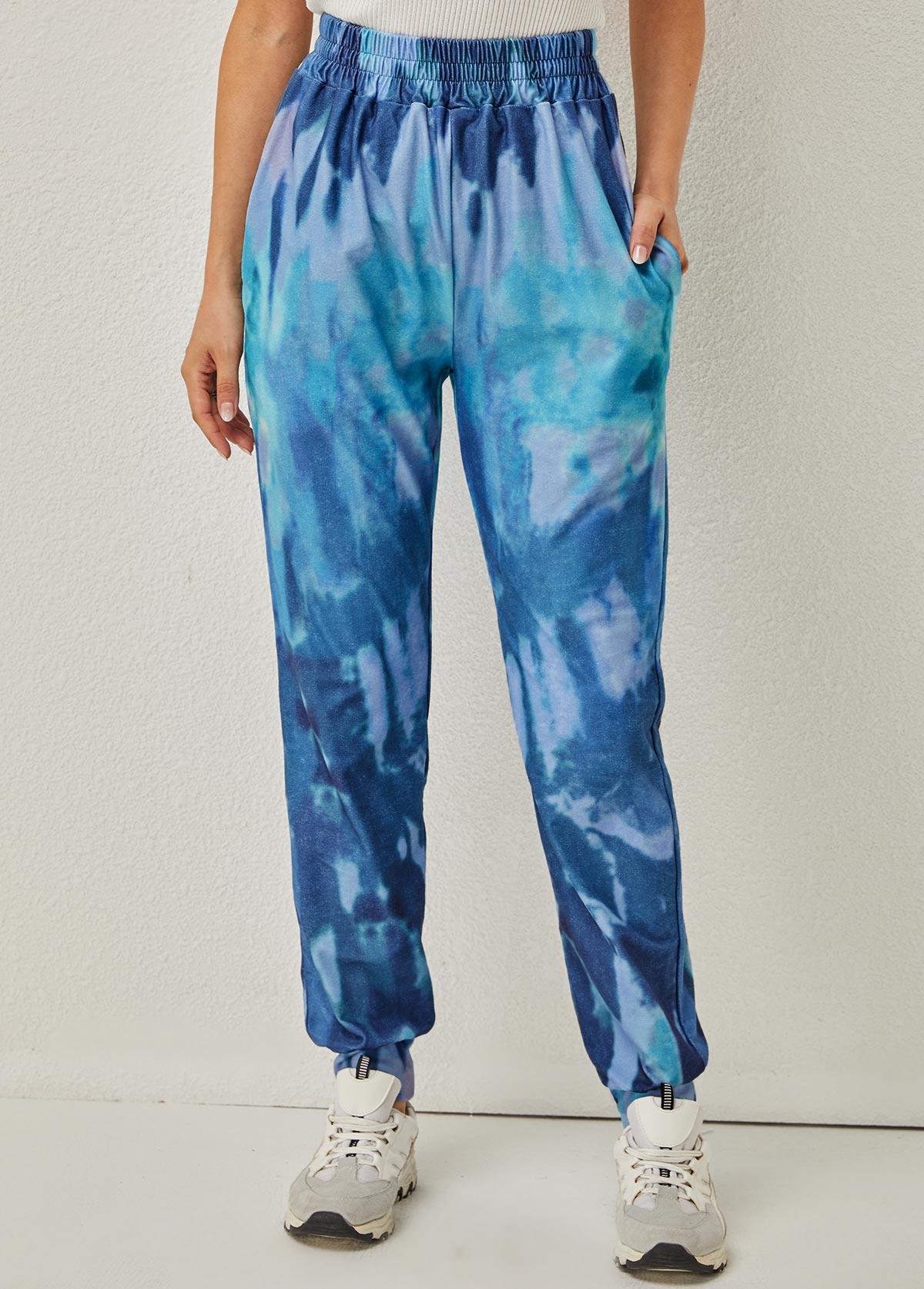 Elastic Waist Tie Dye Print Pocket Detail Pants