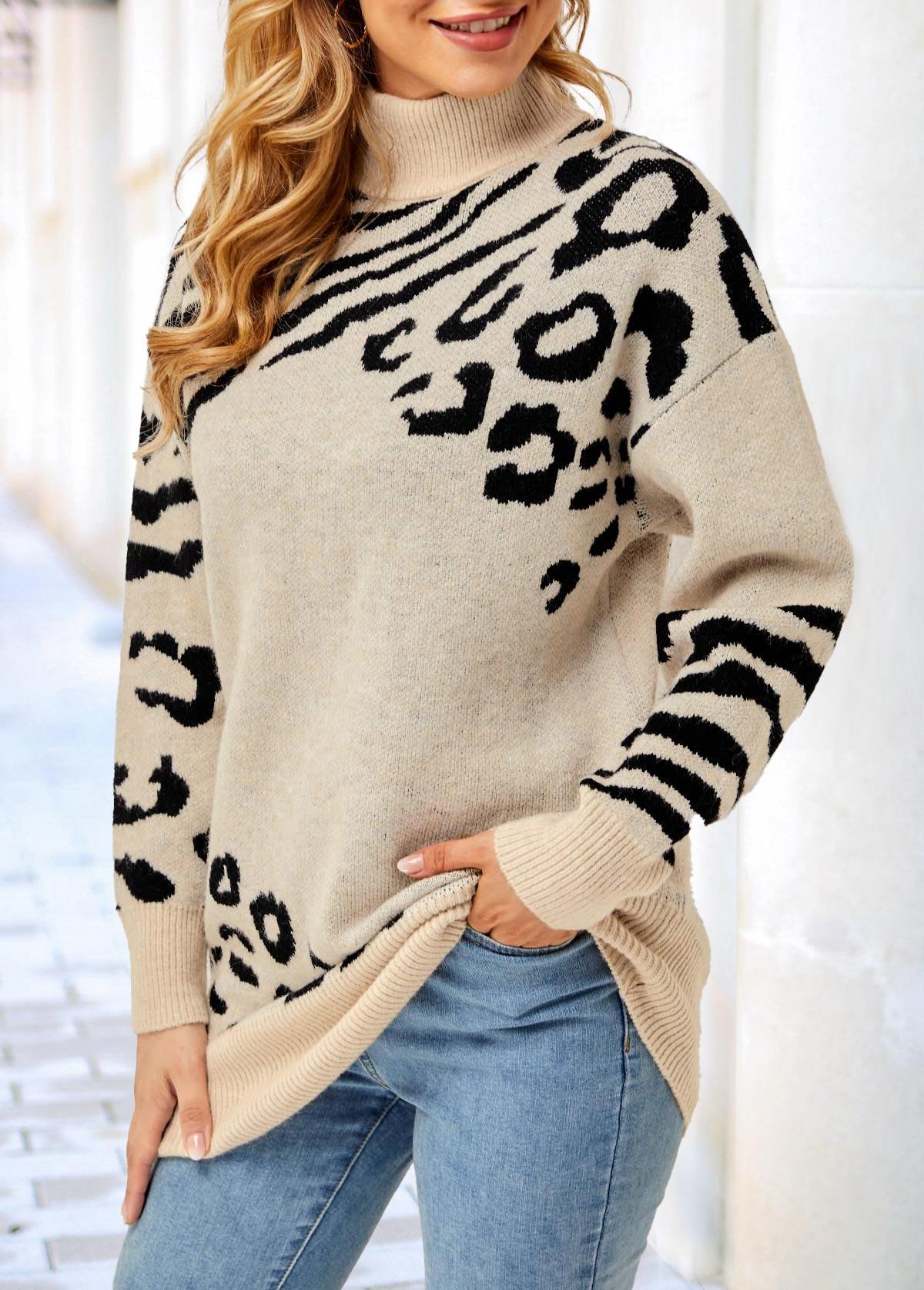 Long Sleeve Turtleneck Leopard Khaki Sweater
