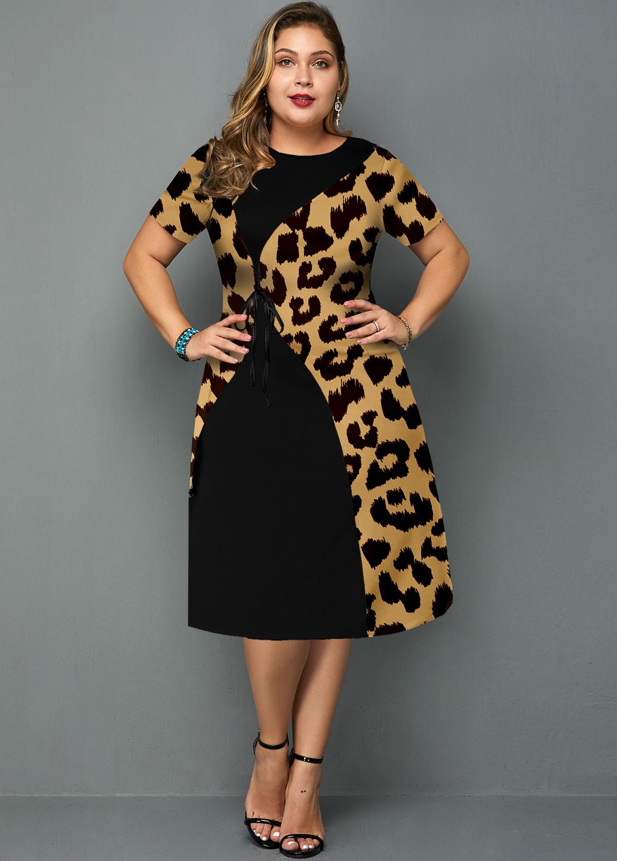 ROTITA Plus Size Leopard Round Neck Short Sleeve Dress