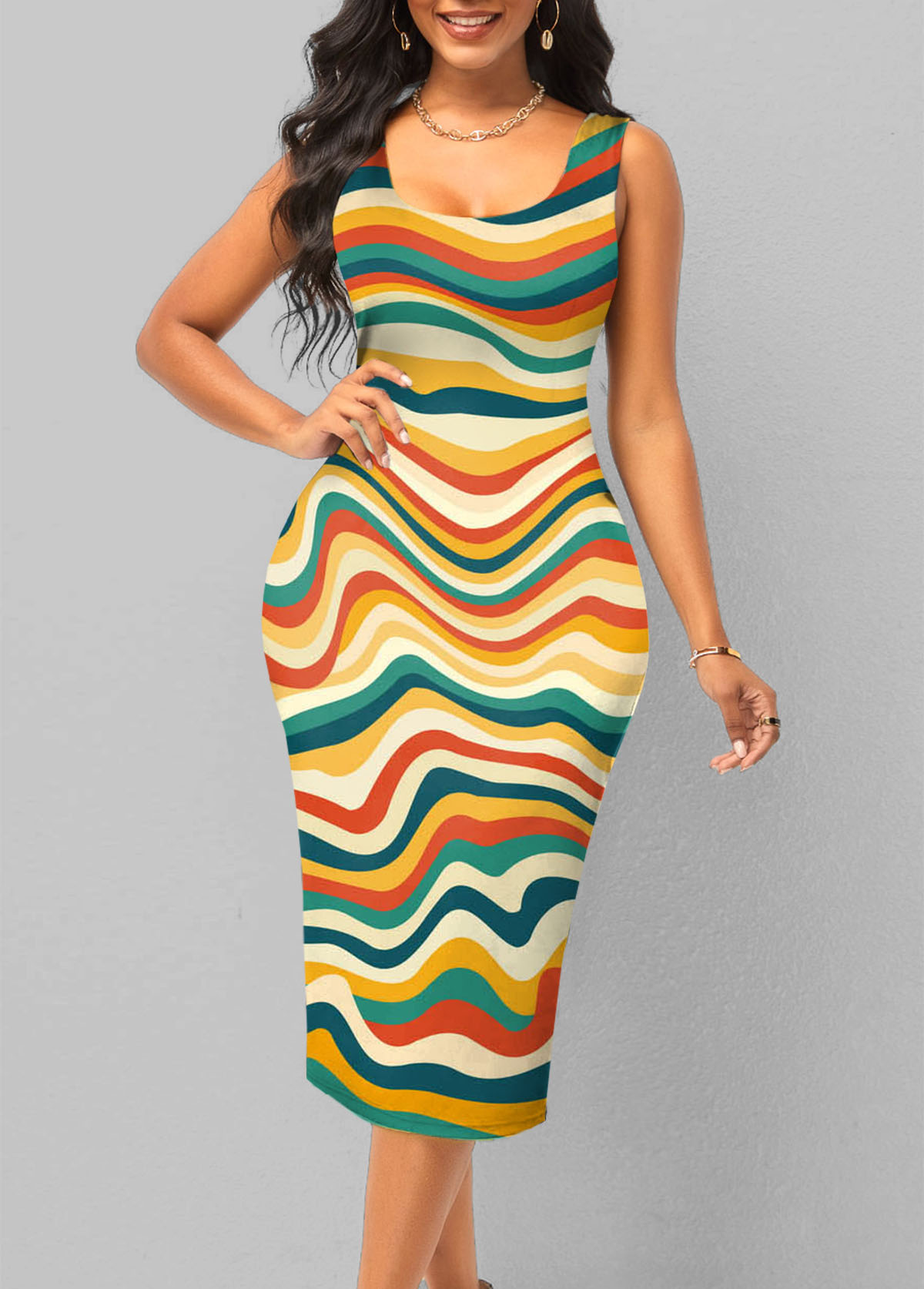 Rainbow Stripe Wide Strap Bodycon Dress