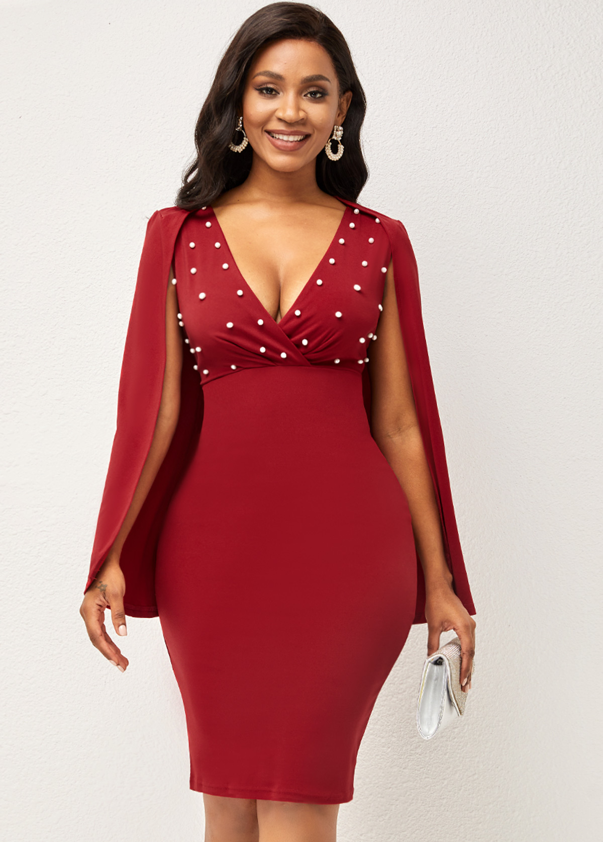 Pearl Cape Sleeve V Neck Solid Dress