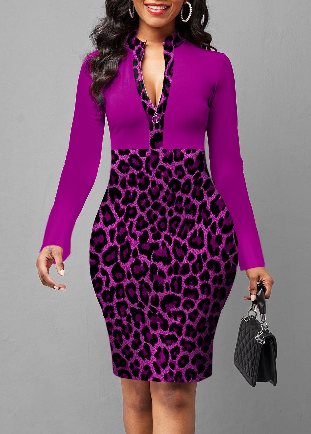 ROTITA Quarter Zip Leopard Long Sleeve Dress