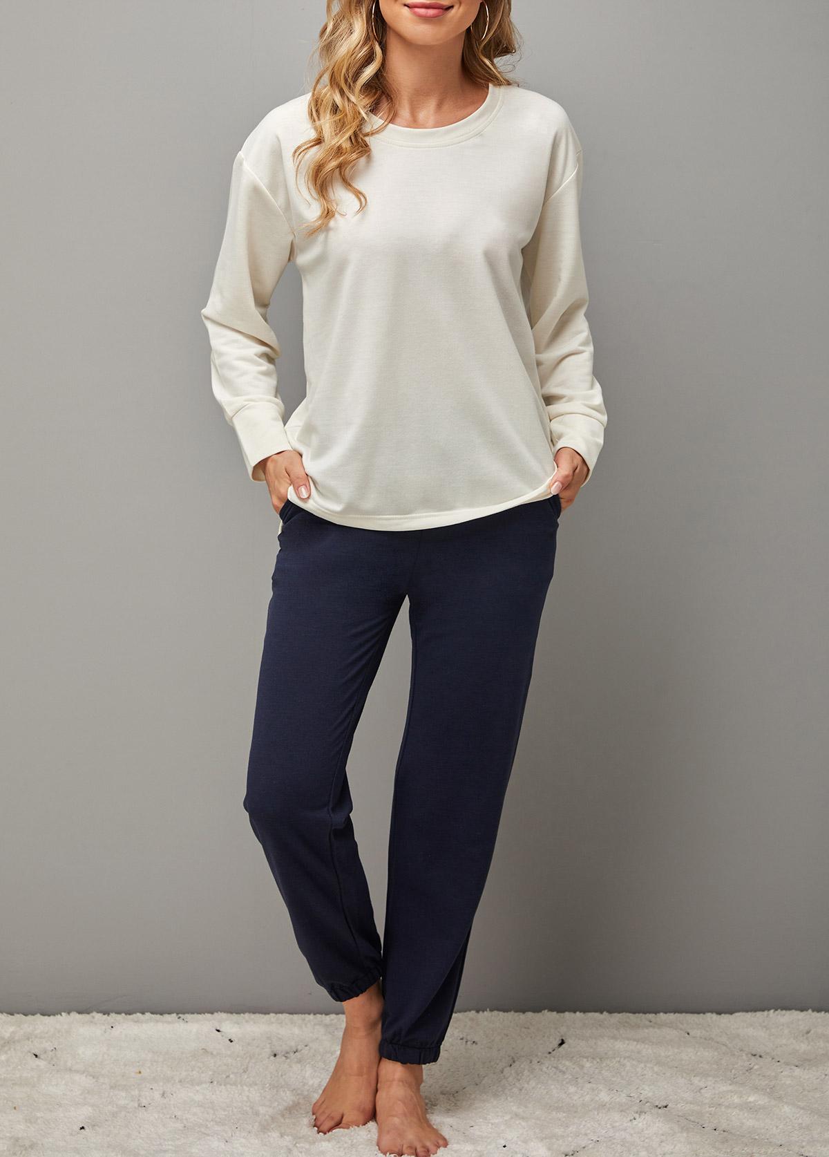 Round Neck Pocket Long Sleeve Loungewear Set