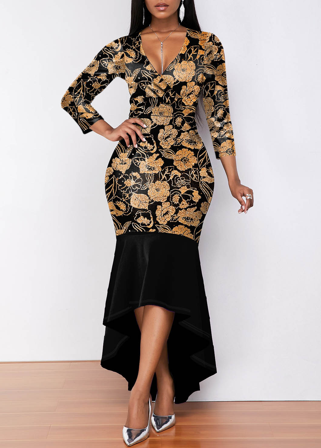 ROTITA V Neck Hot Stamping 3/4 Sleeve Mermaid Dress