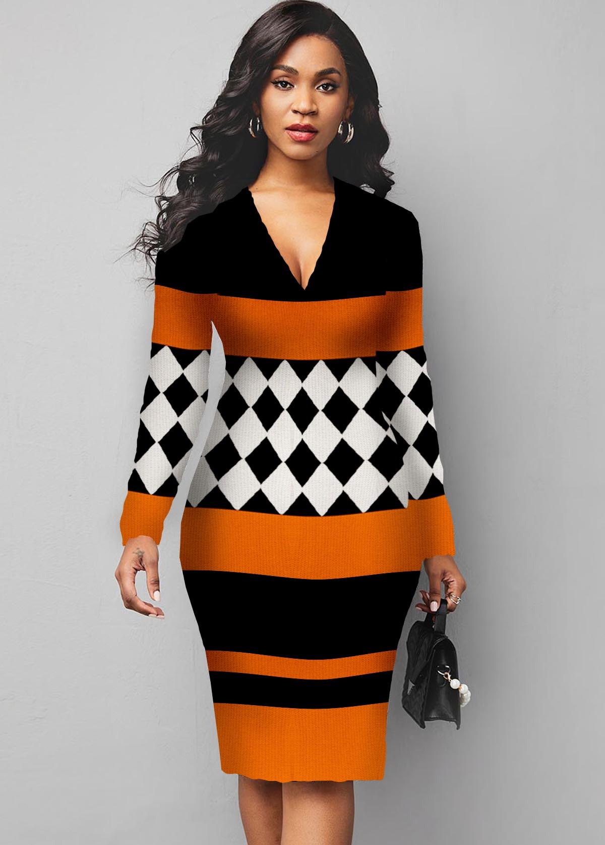 ROTITA Long Sleeve Plaid V Neck Sweater Dress
