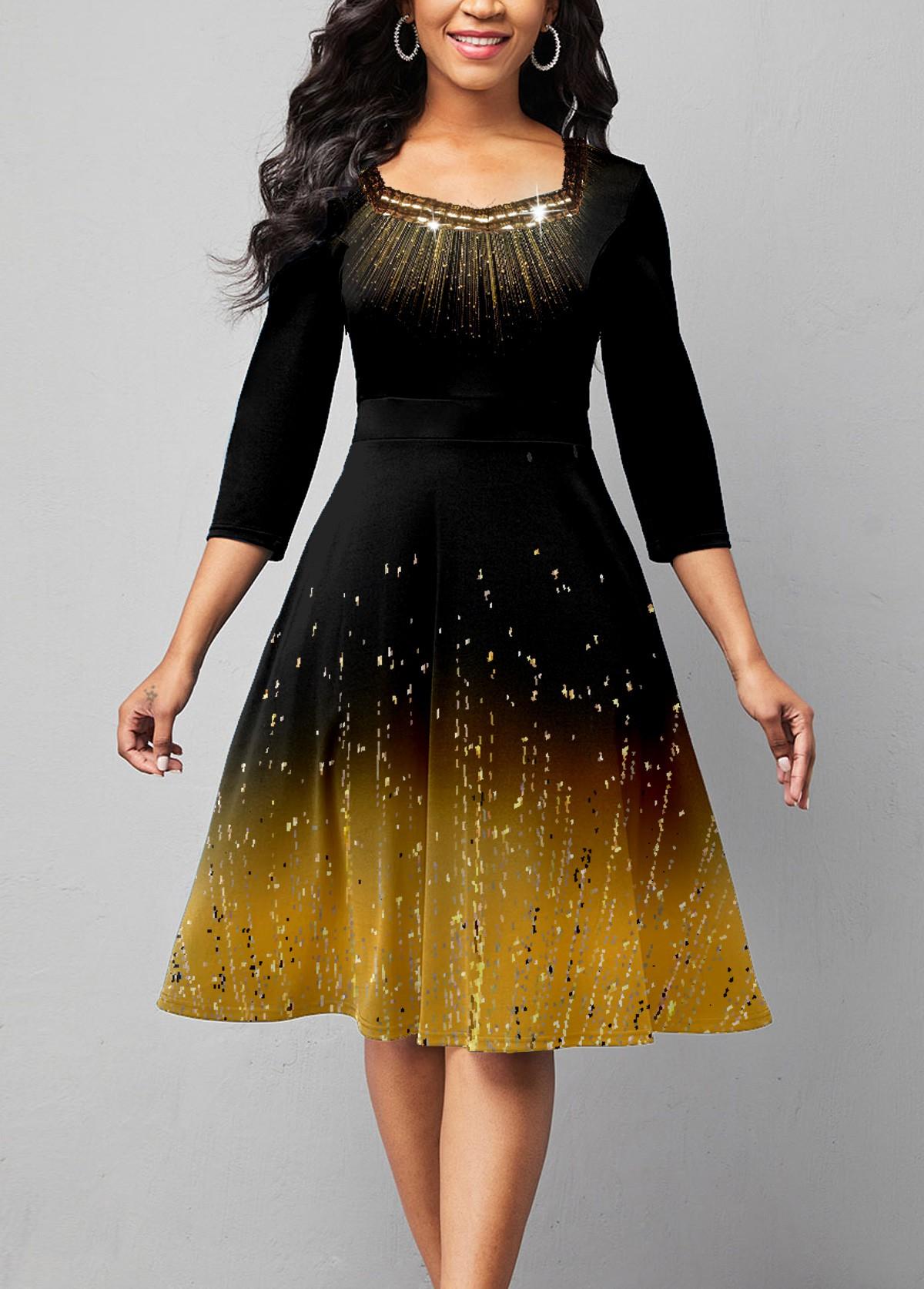 ROTITA 3/4 Sleeve Embellished Neck Ombre Print Dress