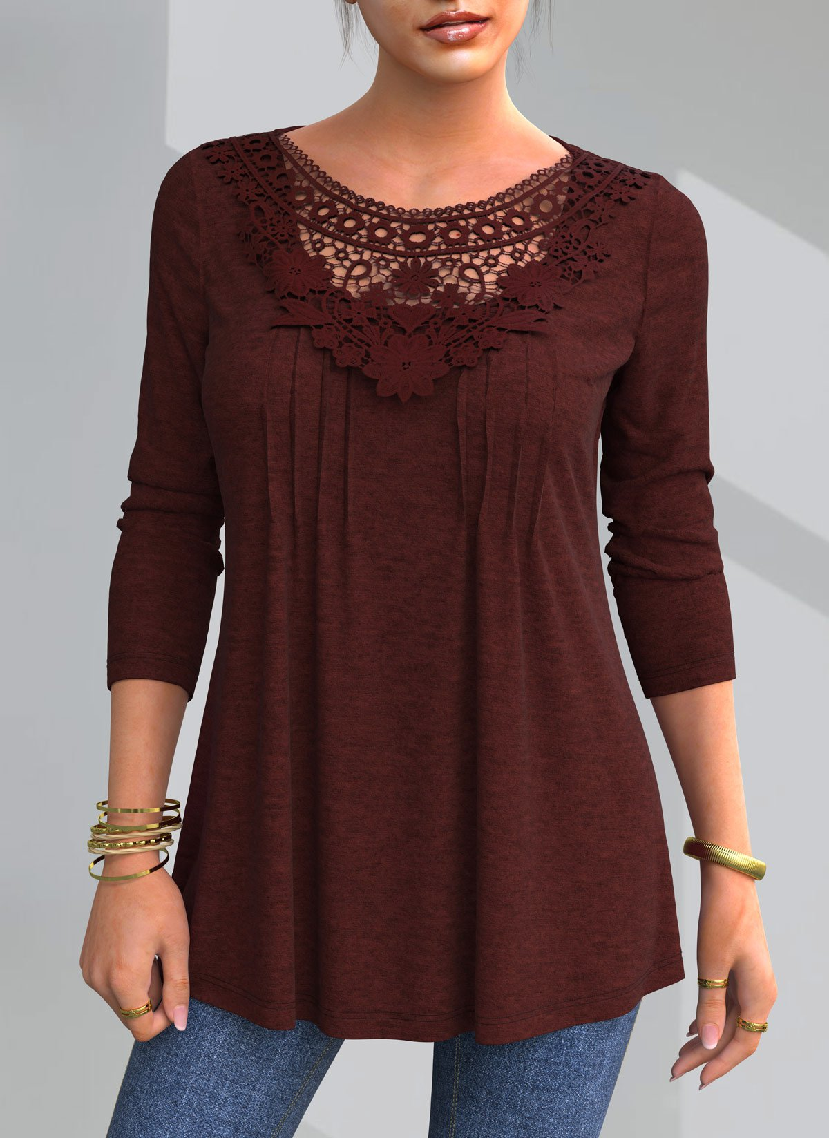 ROTITA Lace Patchwork Crinkle Chest Round Neck Blouse