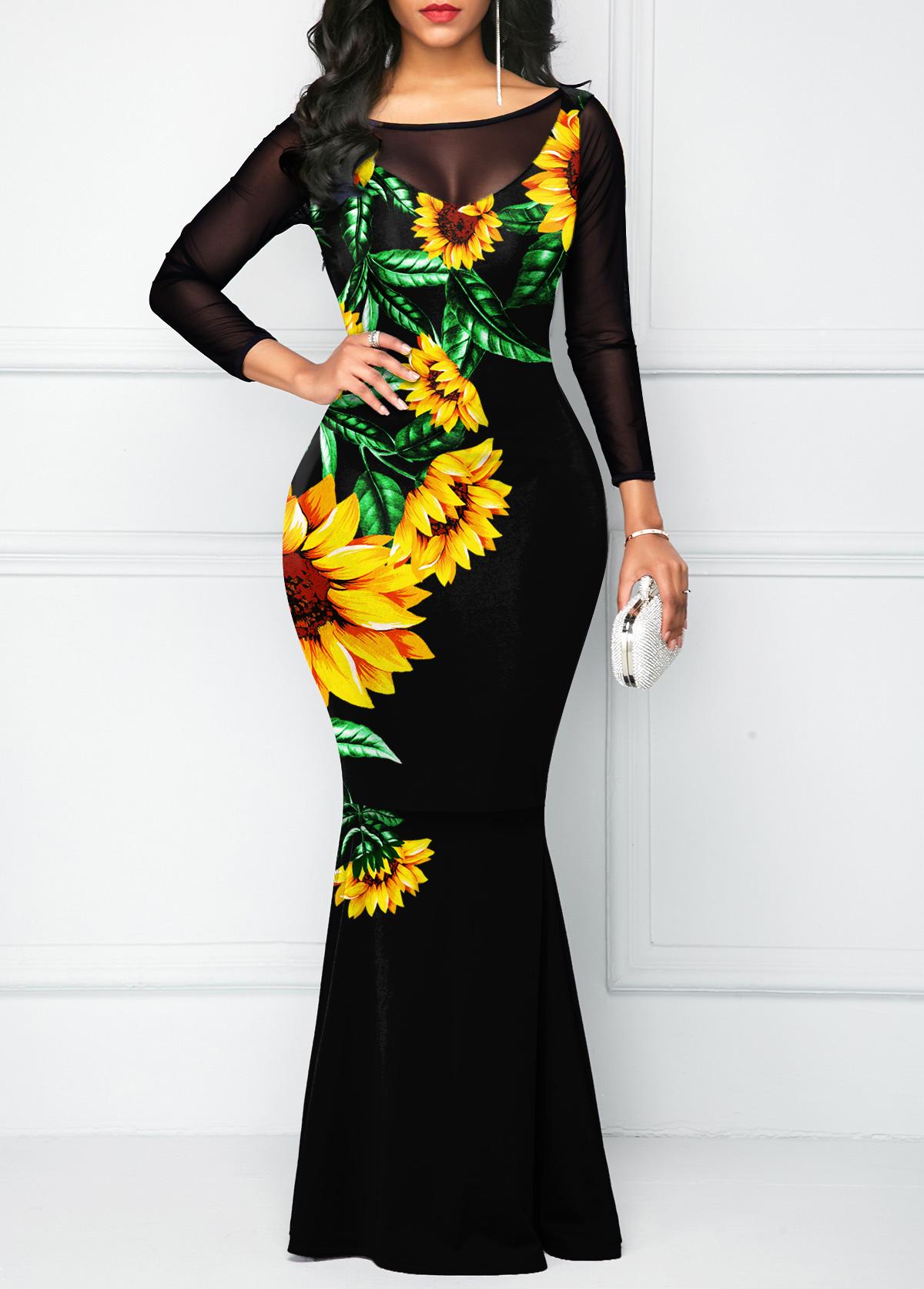 ROTITA Sunflower Print Mesh Stitching Bowknot Dress