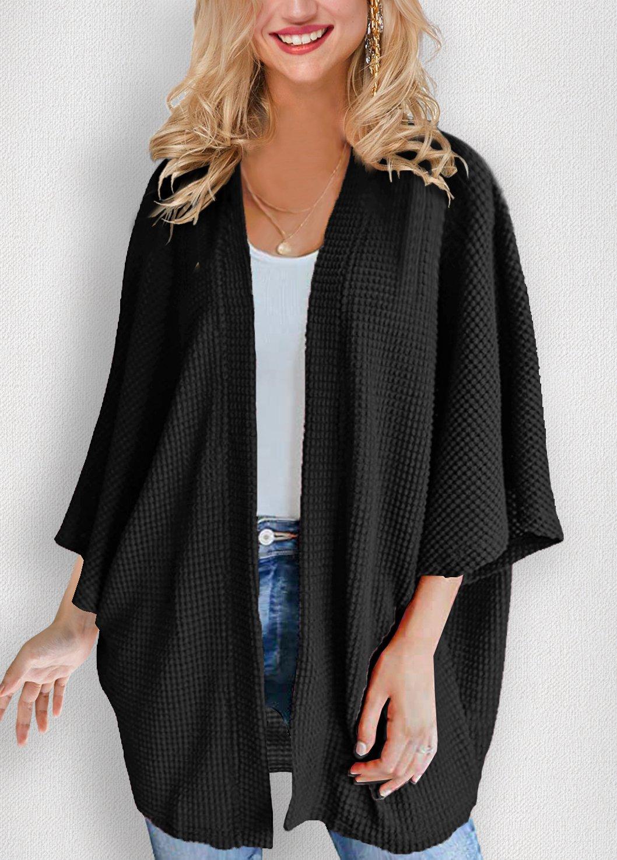 Waffle Knit 3/4 Sleeve Solid Cardigan