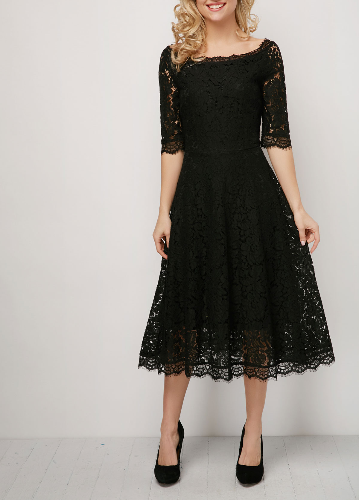 ROTITA Solid 3/4 Sleeve Lace Patchwork Dress