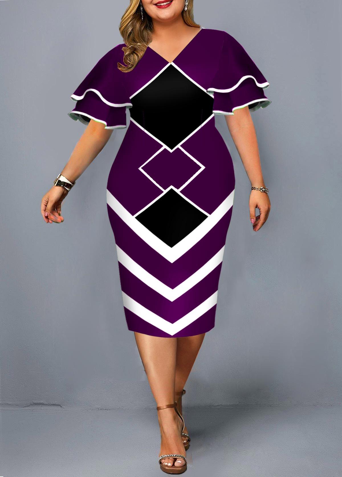 ROTITA Geometric Print Plus Size Layered Bell Sleeve Dress
