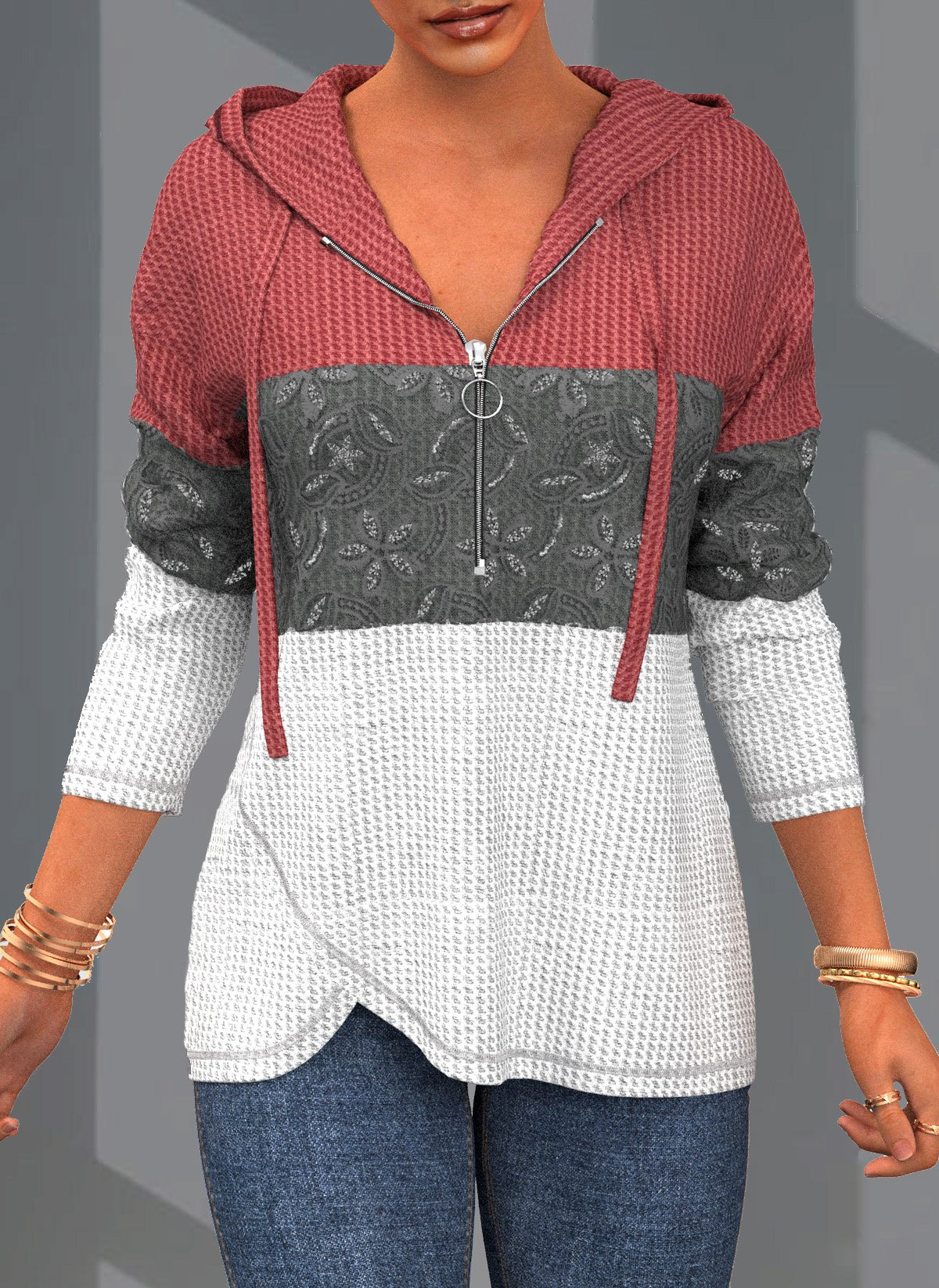 ROTITA Lace Patchwork Contrast Long Sleeve Hoodie