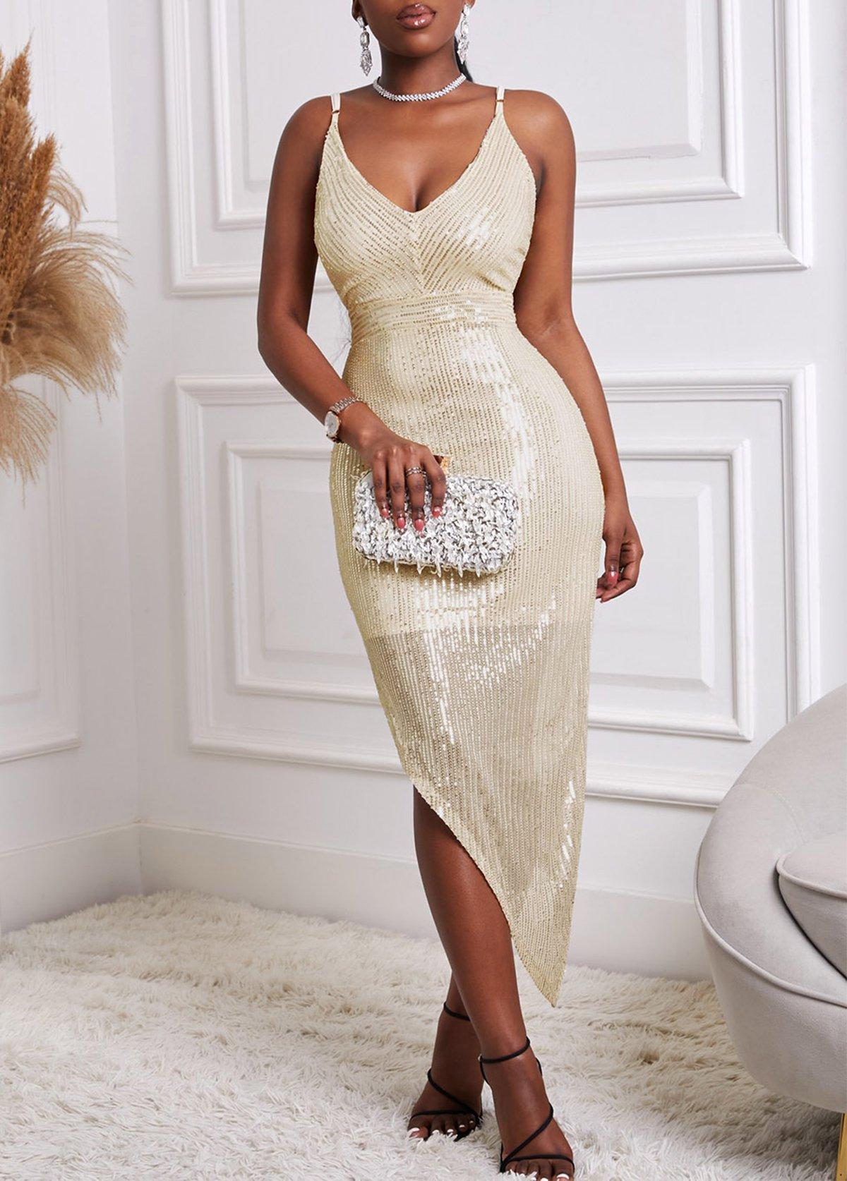 Asymmetric Hem Sequin V Back Solid Dress
