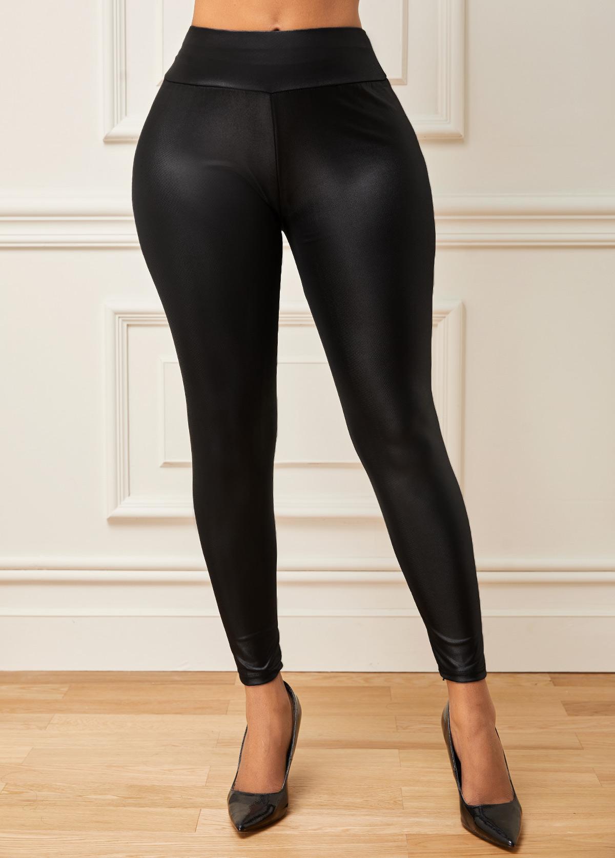 Mid Waist Faux Leather Skinny Pants