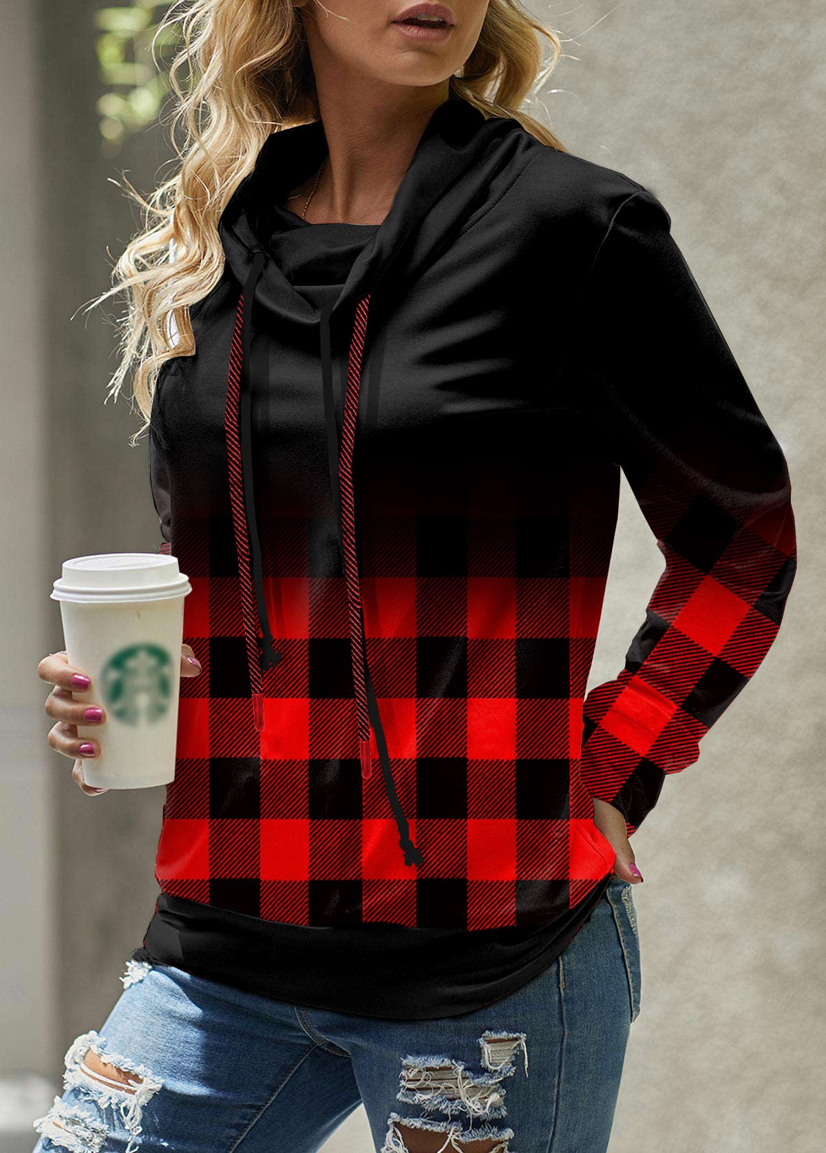 ROTITA Plaid Cowl Neck Long Sleeve Sweatshirt