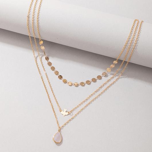 Metal Detail Gold Layered Waterdrop Design Necklace