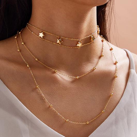 Gold Layered Star Design Metal Detail Necklace