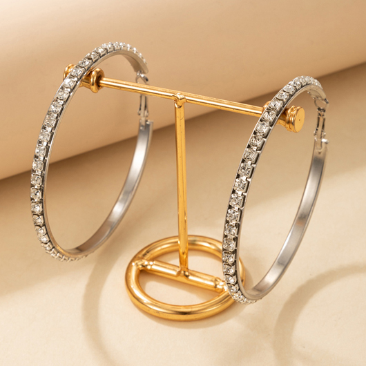 Rhinestone Detail Circle Shape Silver Earring Set