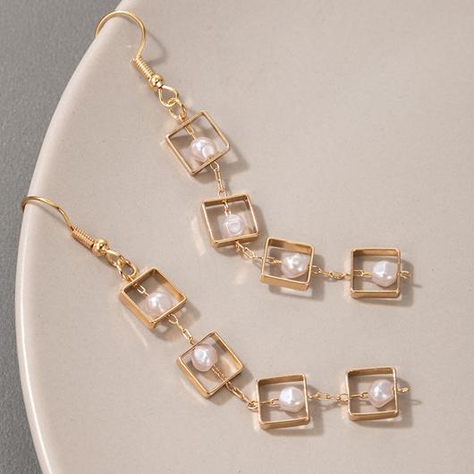 Pearl Detail Square Design Metal Earring Set