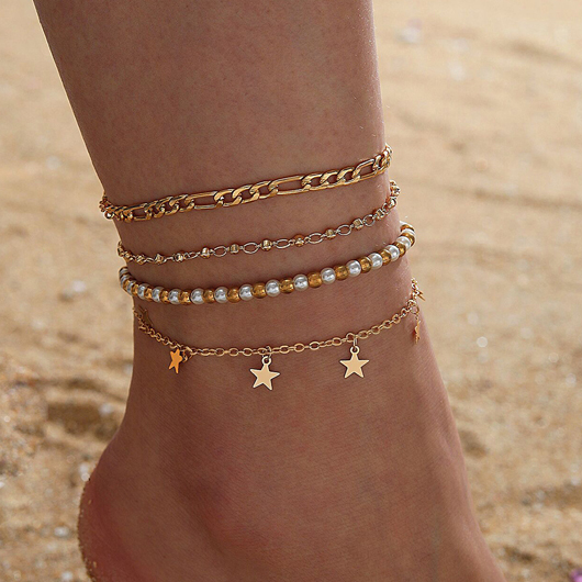 Star Design Beads Detail Layered Anklets