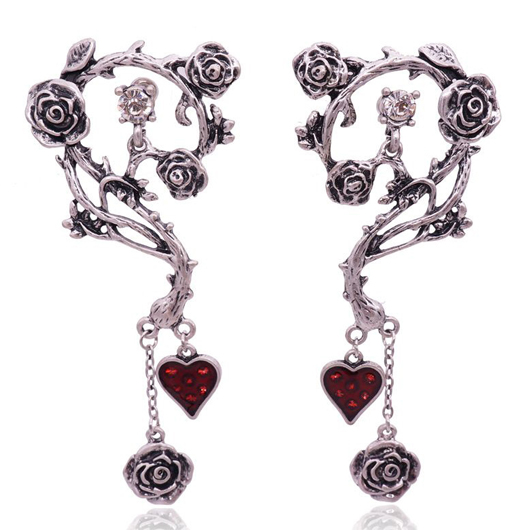 Heart Detail Rose Design Metal Earring Set