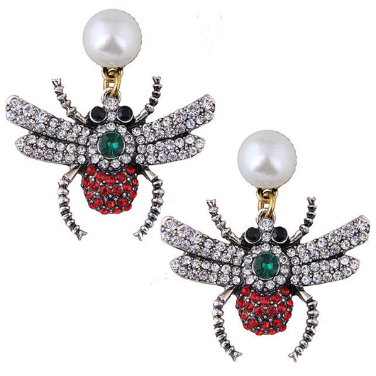 Rhinestone Insect Dsign Pearl Detail Earring Set