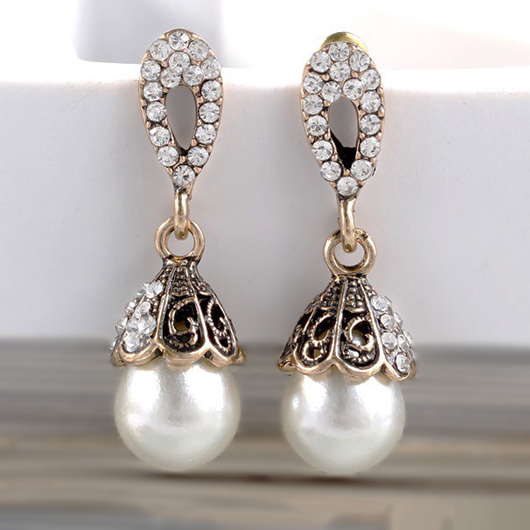 Pearl Design Rhinestone Detail Metal Earring Set