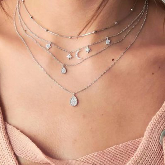 Silver Waterdrop Design Layered Detail Necklace