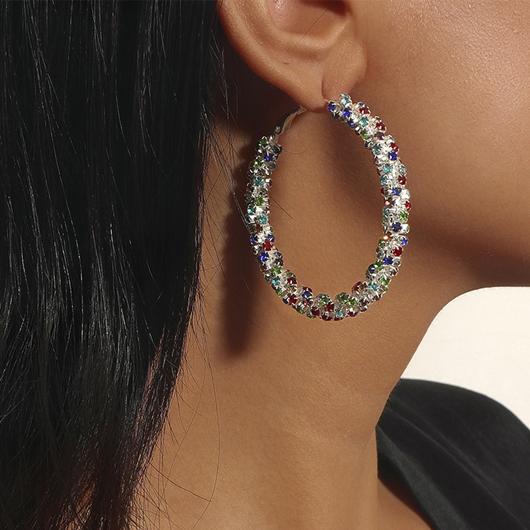 Circle Shape Rainbow Color Rhinestone Earring Set