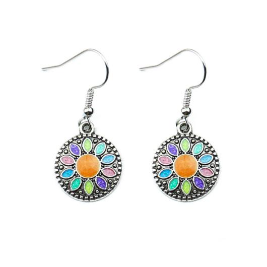 Rainbow Color Sunflower Design Rhinestone Detail Earring Set
