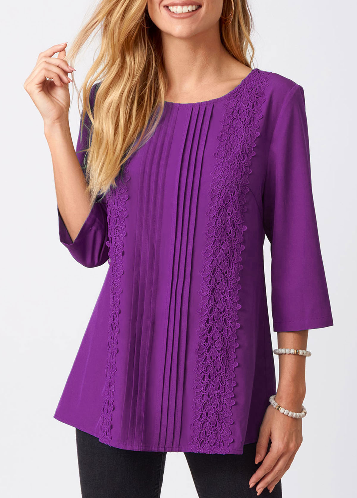 ROTITA Lace Stitching Crinkle Chest Solid Round Neck Blouse