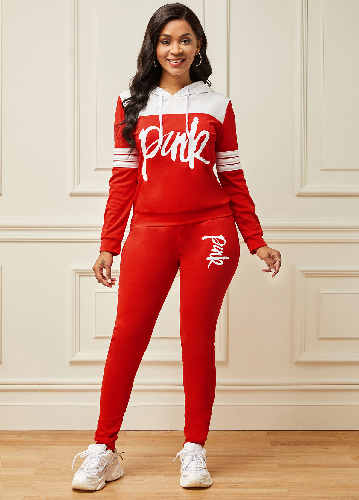 Letter Print Hooded Collar Long Sleeve Sports Suit