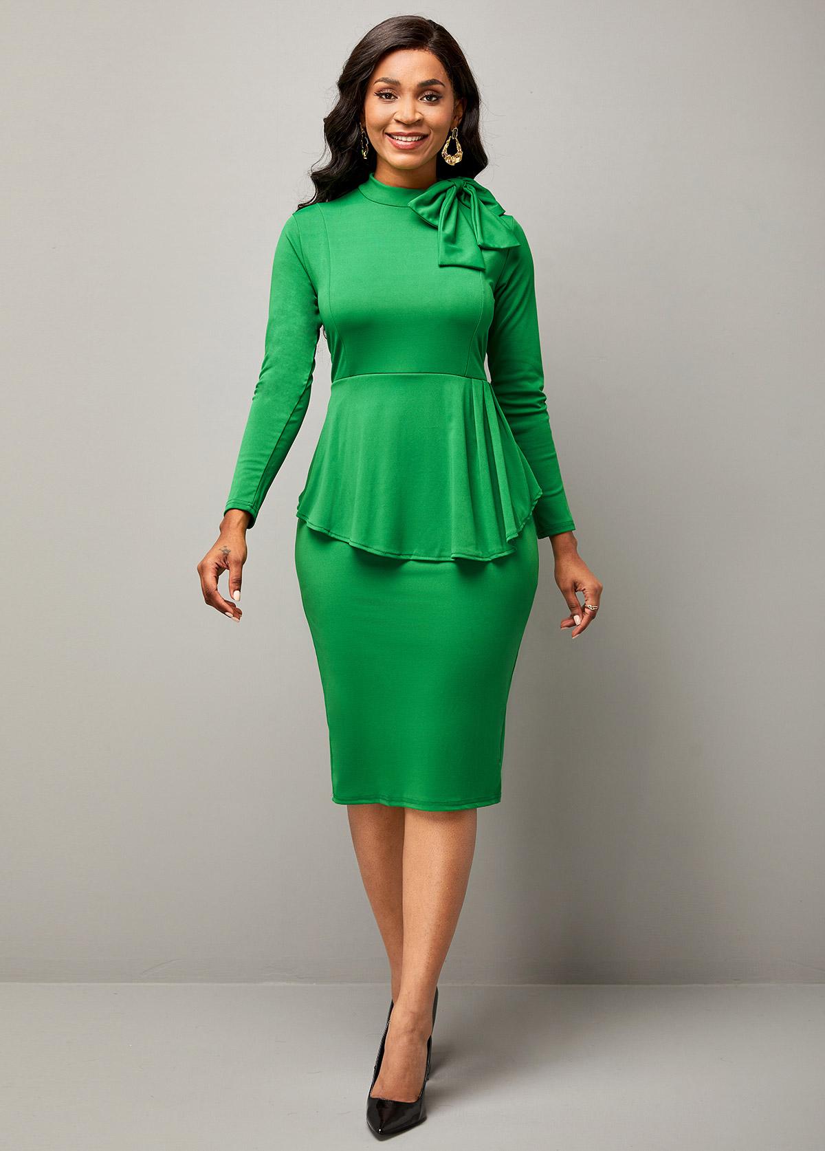 Bowknot Peplum Waist Mock Neck Bodycon Dress